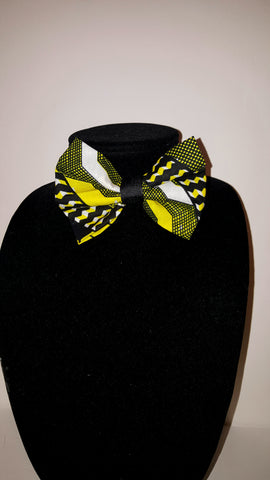 African Clip On Bow Tie-Yellow/White