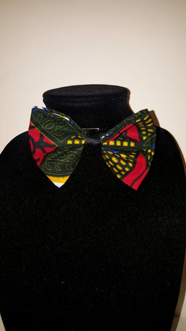 African Clip on Bow Tie-Gold/Red