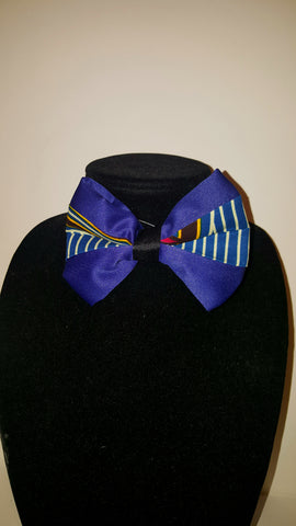 African-Print Clip-On Bow Tie - Royal Blue
