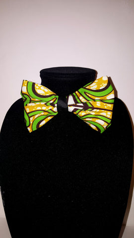 African Bow Tie-Lime Green Tribal Print