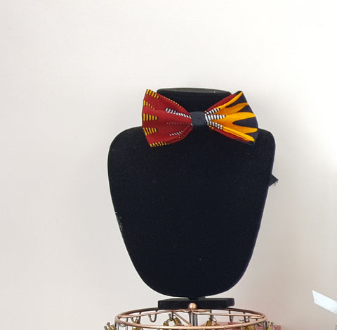 African Clip on Bow Tie-Red/Orange/Black Wave Print