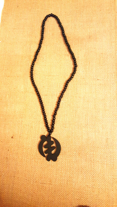 African Wooden Beads Necklace - Black Gye Nyame (Symbol of the Supremacy of God) - Africas Closet