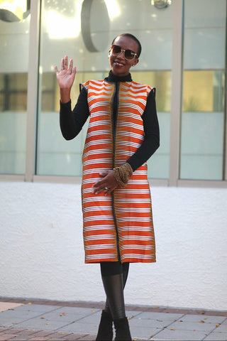 African Print Sleeveless Longline Shrug-Orange/White Fern Print