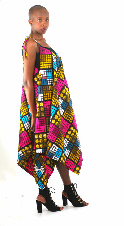 African Print Assymetrical Dress - Pink/Brown Geometric Print - Africas Closet