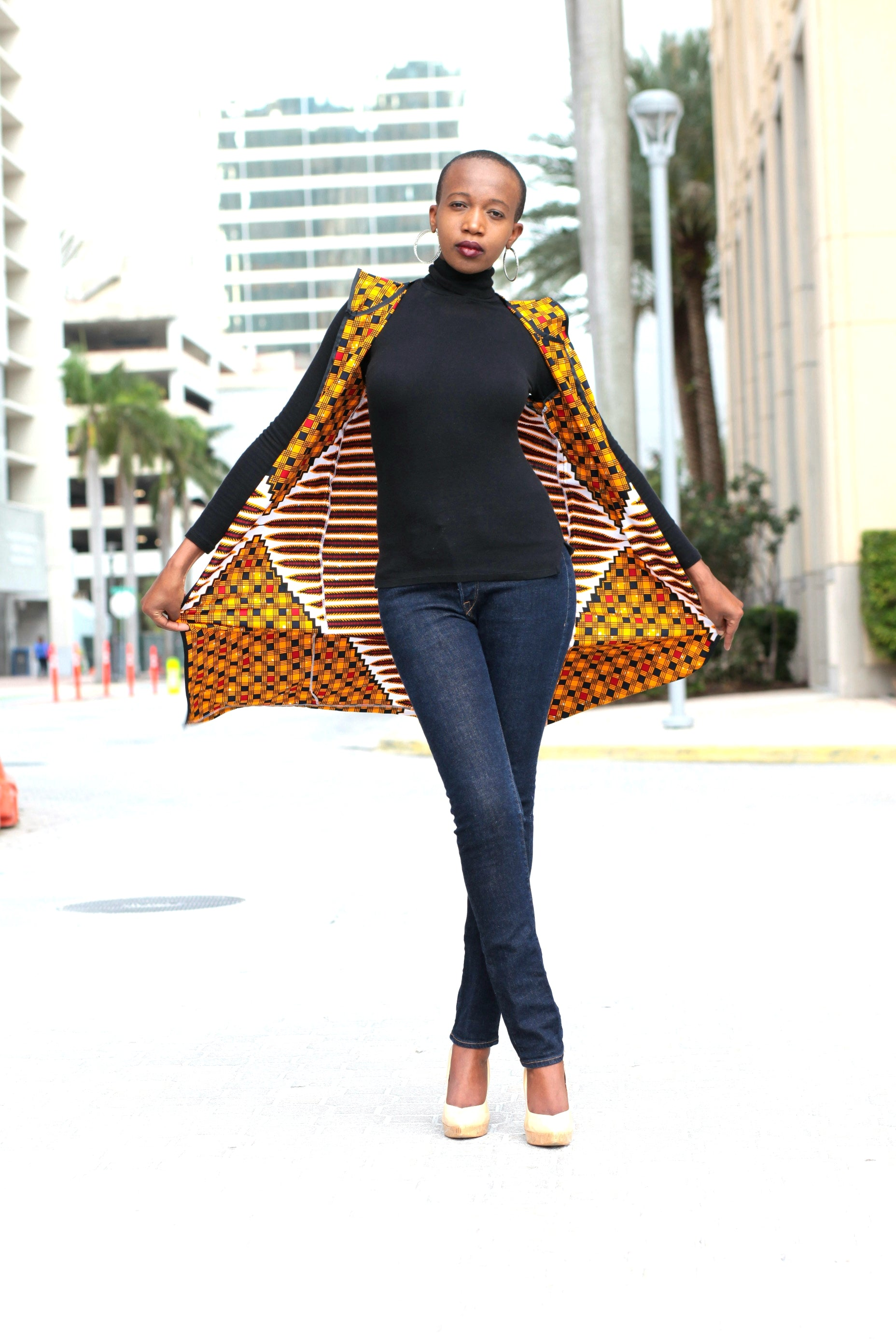 African Print Sleeveless Longline Shrug - Gold/Red Geometric Print - Africas Closet