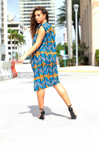 African Print Sleeveless Longline Shrug - Royal Blue /Brown Kente Prints.