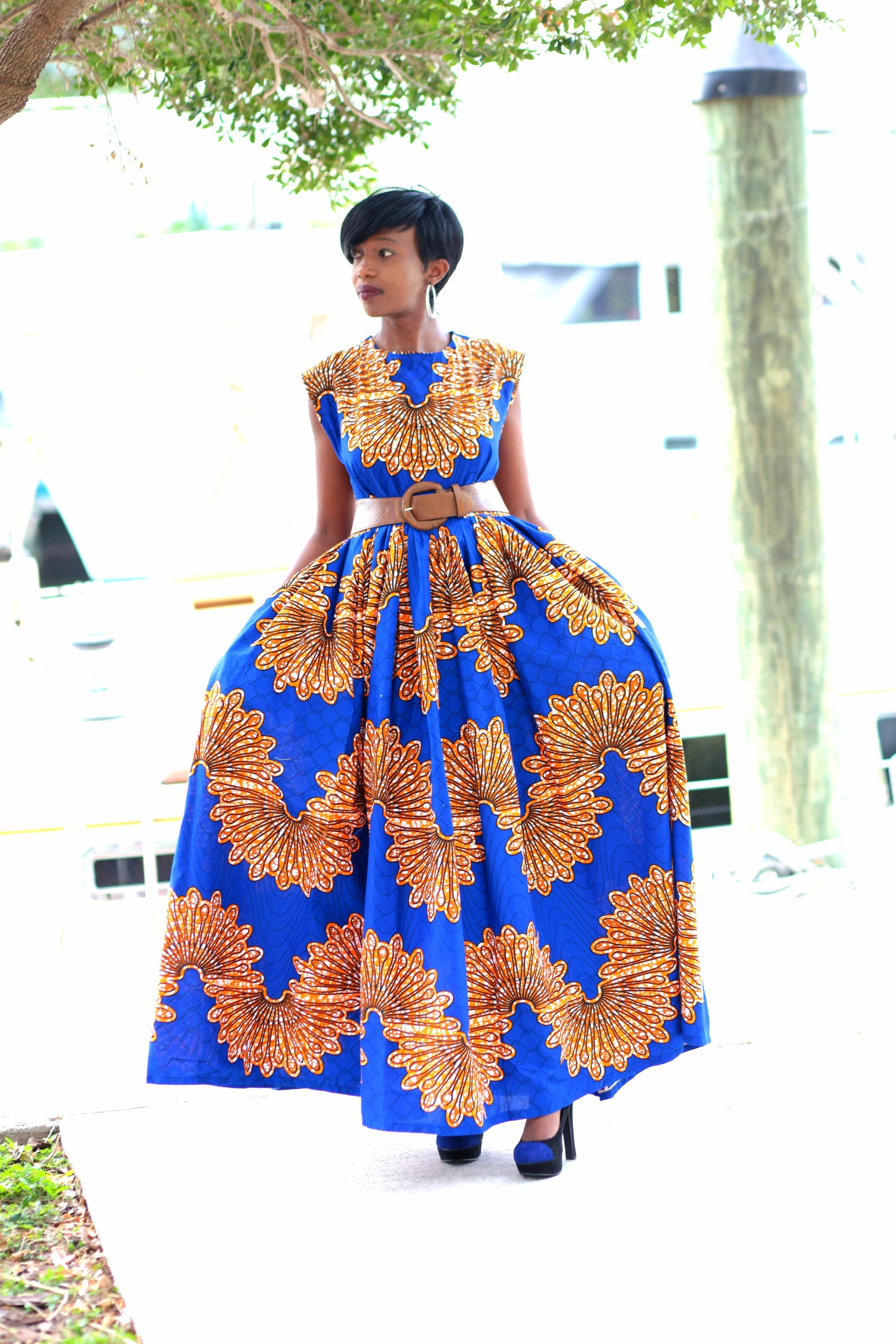 African Print Maxi Dress - Royal Blue/Brown /Orange - Africas Closet