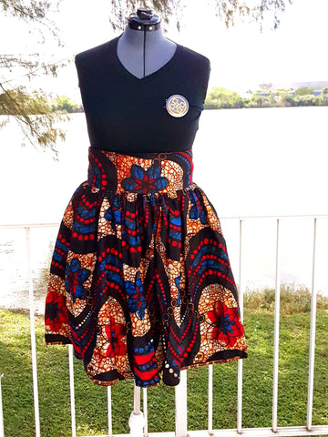 African Print Midi Flare -Red/Blue/Black Wave Floral Print