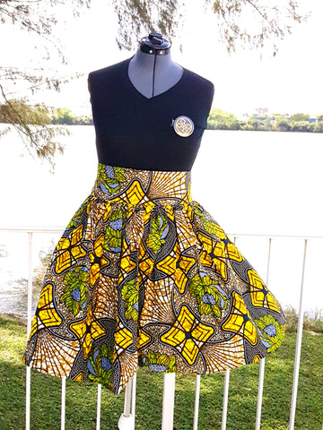 African Print Midi Flare Skirt-Yellow /Lime Green Floral Print