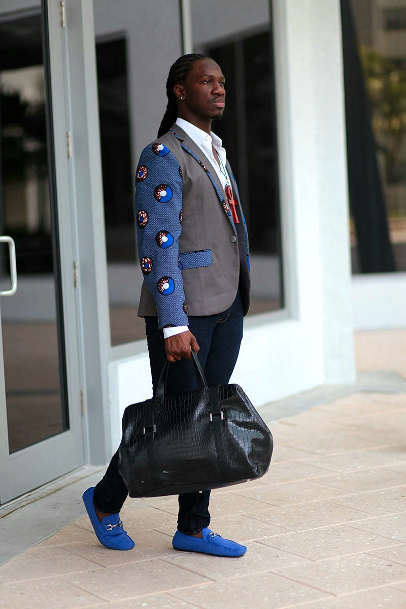 African Mens Blazer Jacket - Grey/Blue Circle (Concentric) Print - Africas Closet
