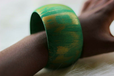 African Wide Wooden Bangles - Gold / Green Painted - Africas Closet