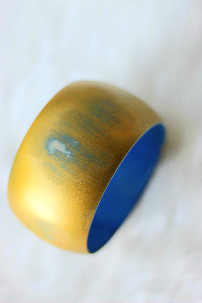 African Wide Wooden Bangles - Gold/Royal Blue  Painted - Africas Closet