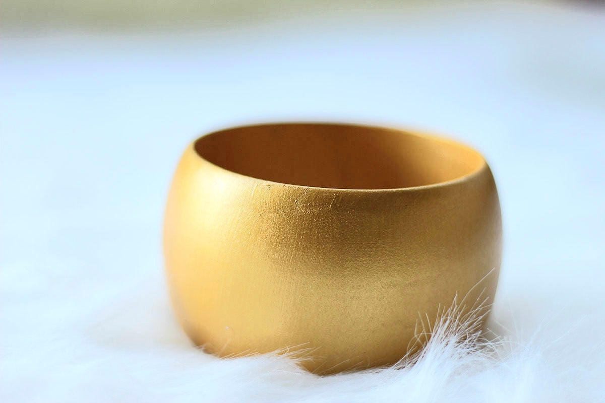 African Wide Wooden Bangles - Gold Painted - Africas Closet