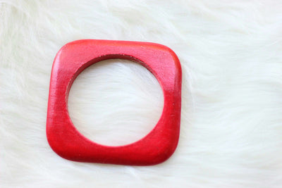 African Square Edged Wooden Bangles - Red Painted - Africas Closet