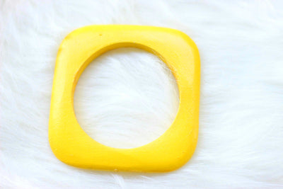 African Square Edged Wooden Bangles - Yellow Painted - Africas Closet