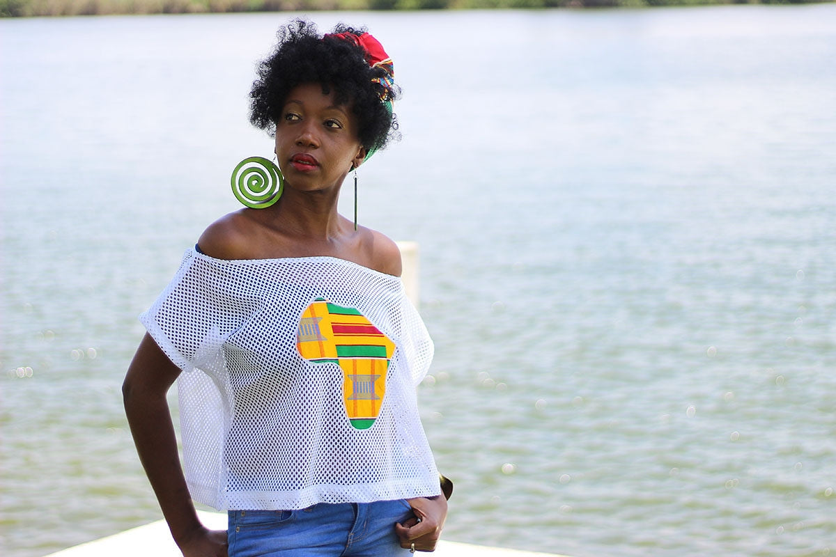 African Map detailed Mesh Summer Crop Top -Orange/Red/Green  Kente Print - Africas Closet