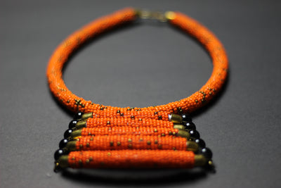 African Maasai Beaded Orange Statement  Necklace - Africas Closet