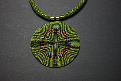 African Maasai Beaded Jungle Green Statement Circle Necklace - Africas Closet