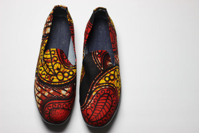 African Print /Ankara Flat Shoes /Loafers(slip ons) - Red,Yellow and Brown Floral Print. - Africas Closet