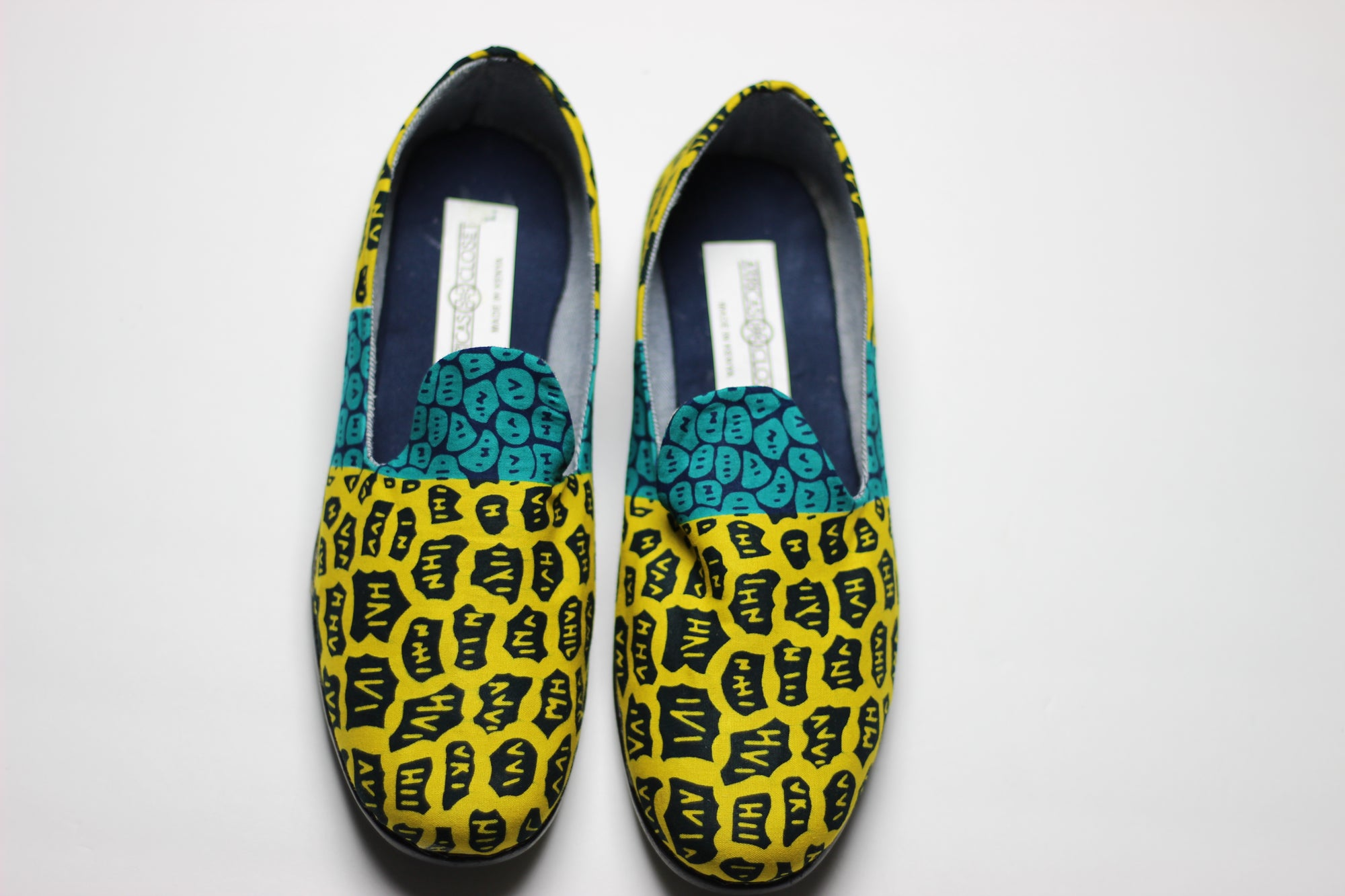 African Print /Ankara Flat Shoes /Loafers(slip ons) - Yellow and Green Animal Print.