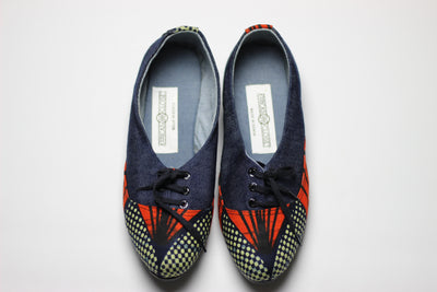 African Print /Ankara Flat Shoes (with laces) Denim detail- Red and Navy Blue Floral Print. - Africas Closet