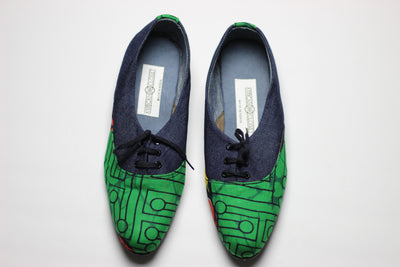 African Print /Ankara Flat Shoes (with laces) Denim detail - Red and Green Animal Print. - Africas Closet