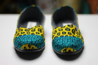 African Print /Ankara Flat Shoes (slip on) - Yellow and Green Animal Print. - Africas Closet