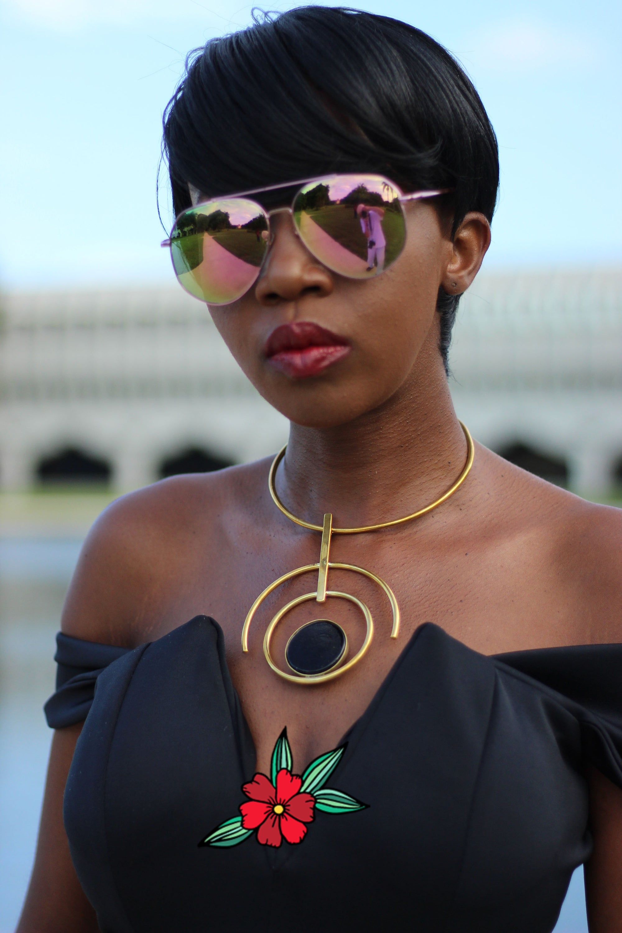 African Custom Brass Statement Necklace - Pendo - Africas Closet