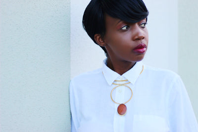 African Custom Brass Statement Necklace - Teo - Africas Closet