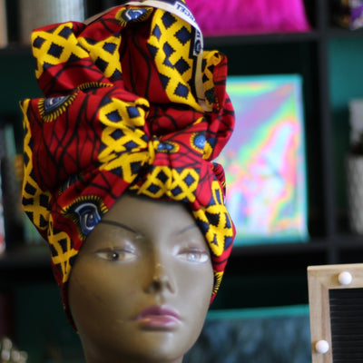 African Print Head Wrap - Red/Yellow/Black Eye print - Africas Closet