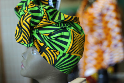 African Print Head Wrap - Green/Mustard Yellow/Black Geomertric print - Africas Closet