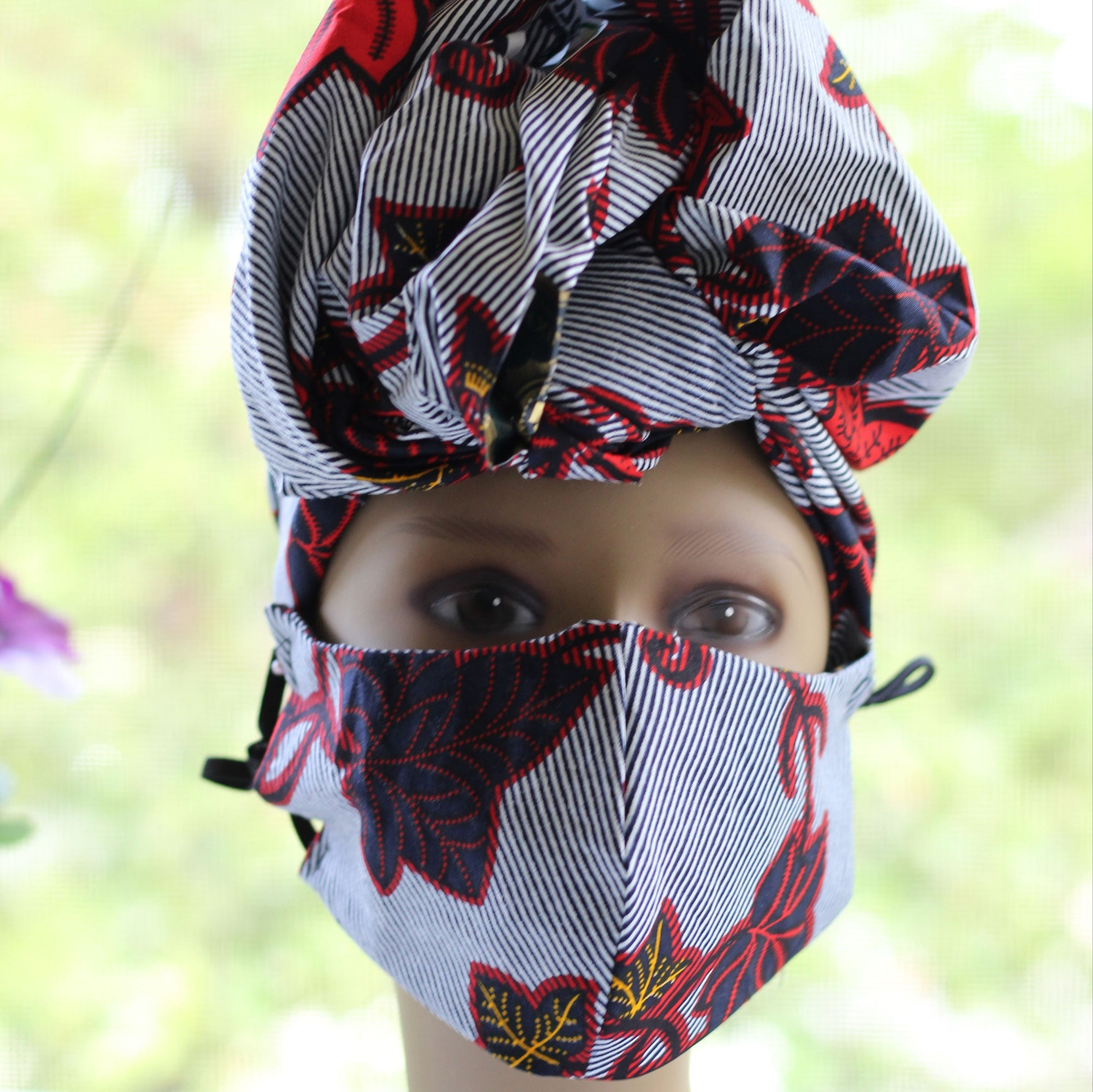 Ankara /African Print Mask (Headwrap Set) -  White/Black / Red Floral Print - Africas Closet