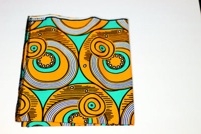 African Print Headwrap (Mini) - Orange /Teal  Concentric Print