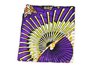 African Print Headwrap (Jumbo) - Purple/Brown/Yellow Floral Print