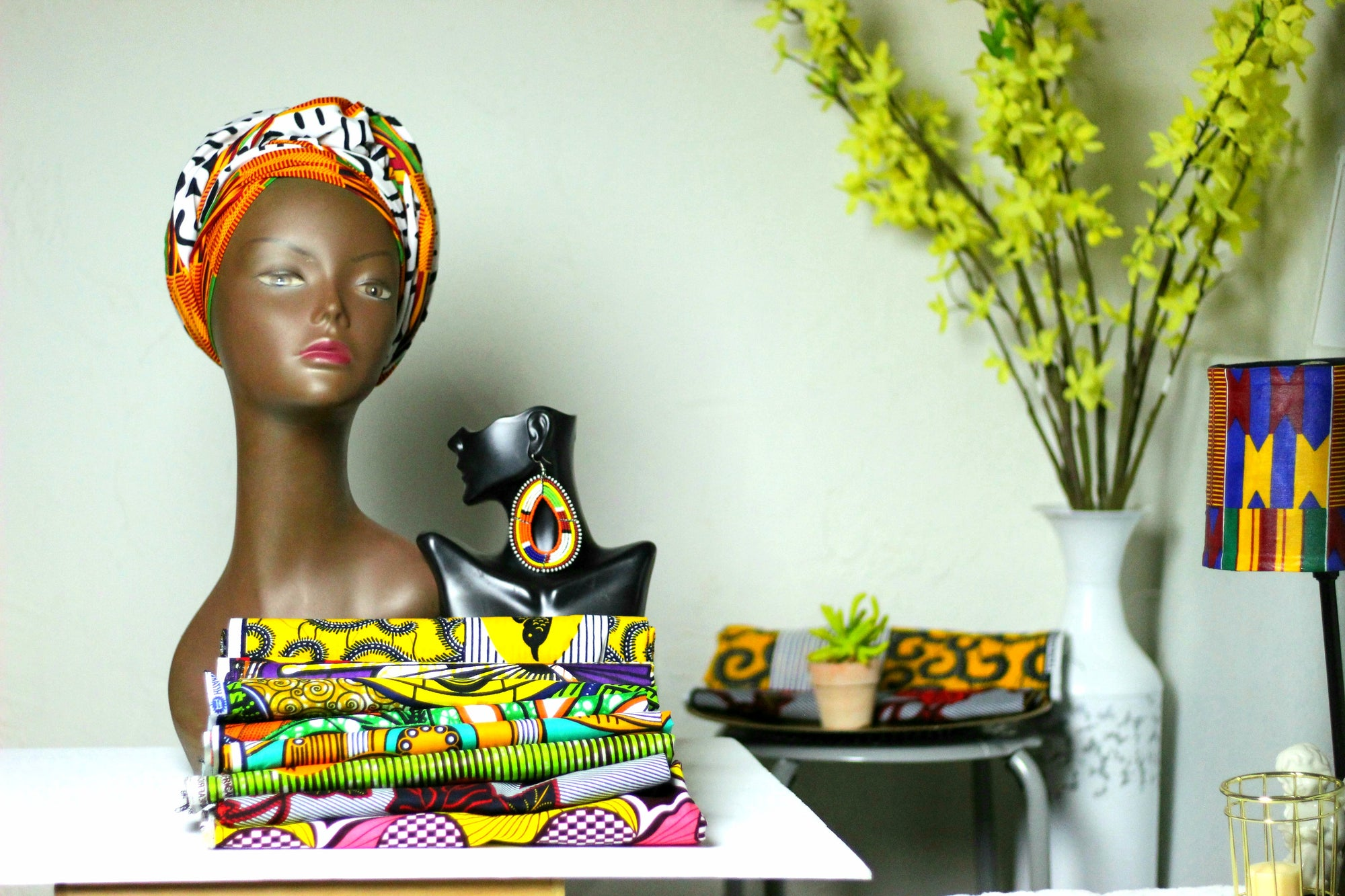 African Print Headwrap (Jumbo) - Orange/Black/White  Kente Print