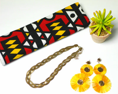 African Print Headwrap (Mini) - Red/Black/Orange Tribal Print