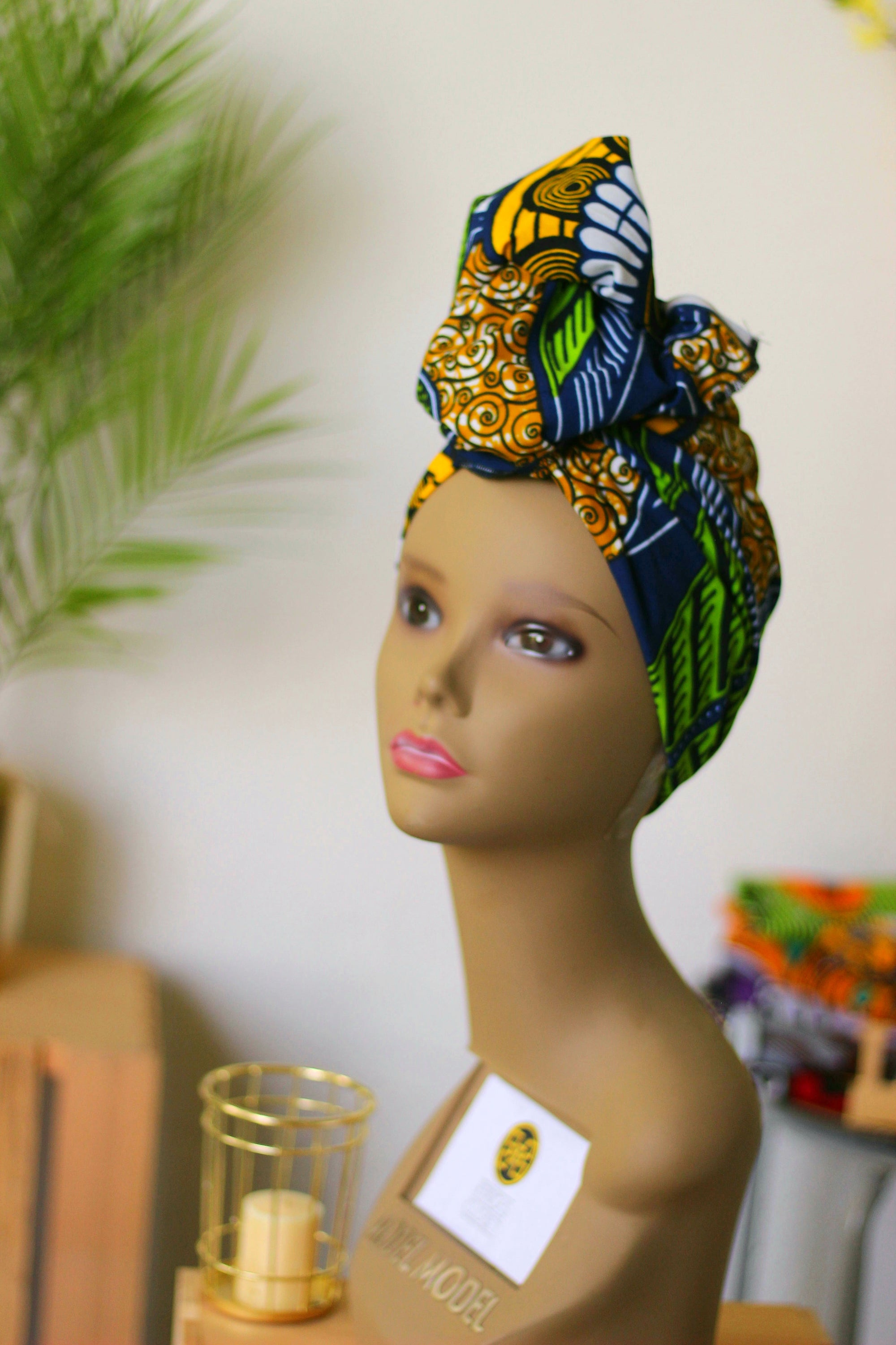 African Print Headwrap (Mini) - Blue/Yellow/Green Floral Print