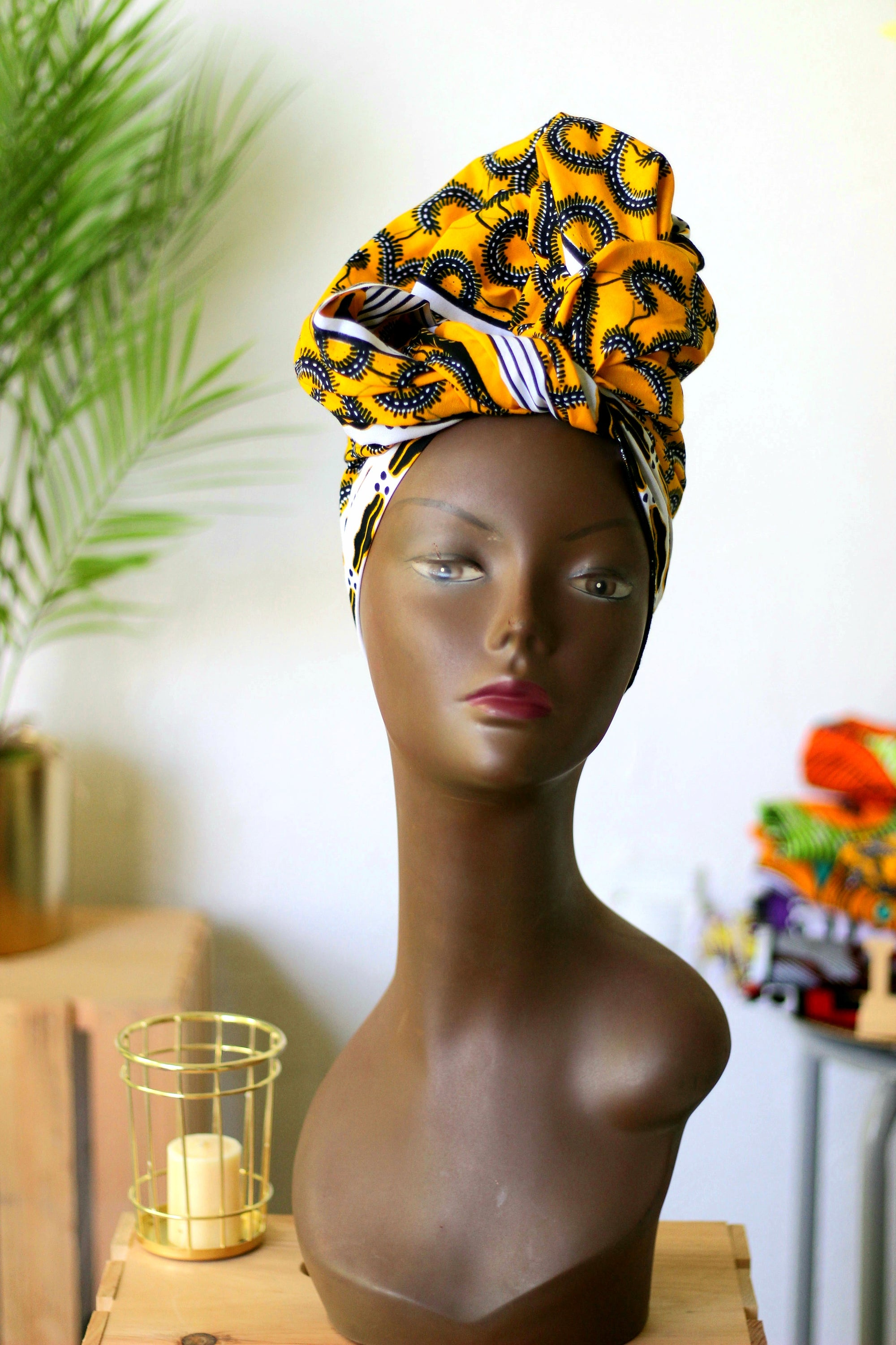 African Print Headwrap (Jumbo) - Yellow/White/Black  Floral Print
