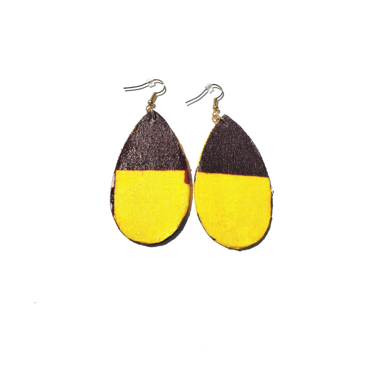 African/ Ankara Tear Drop Earrings(hooked) - Yellow/Brown Print