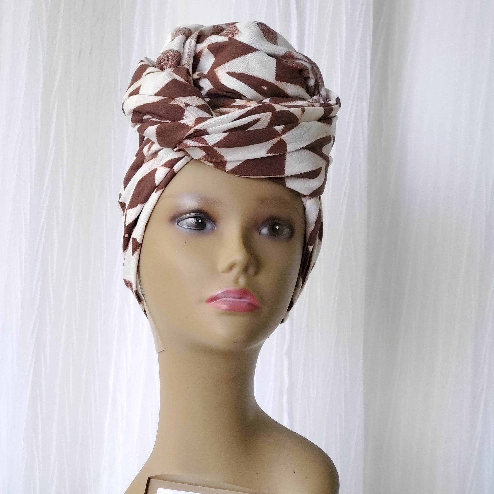 Tribal Print Cotton Headwrap - White/Maroon