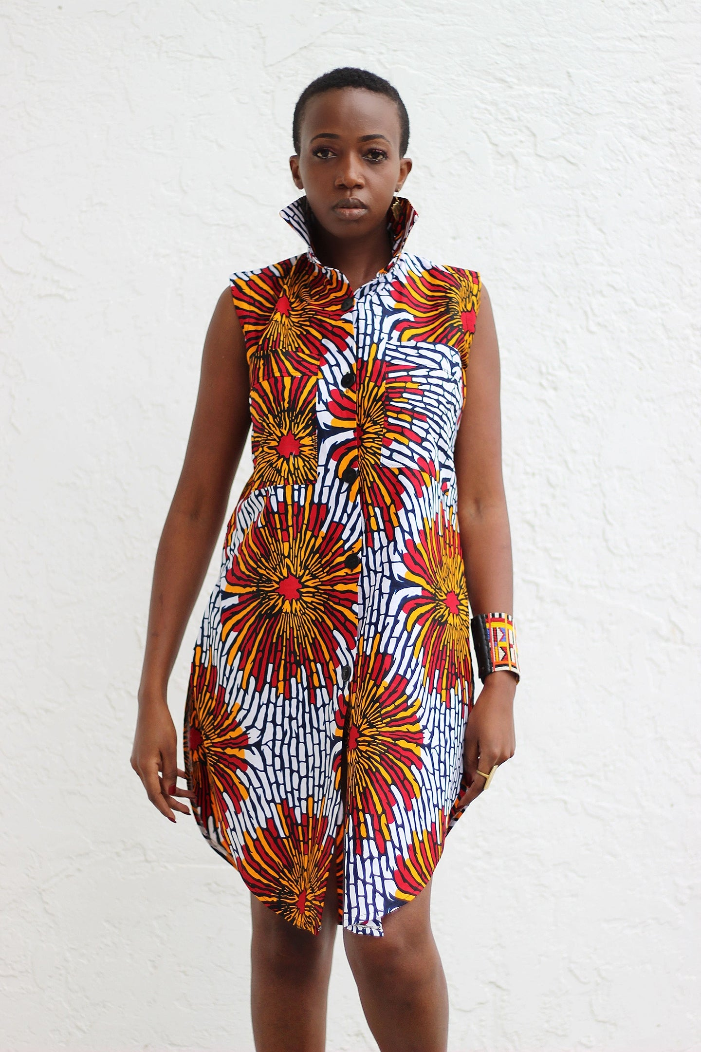 African Print /Ankara /Kitenge Zao Dress Top - White/Red/Orange Floral Print - Africas Closet