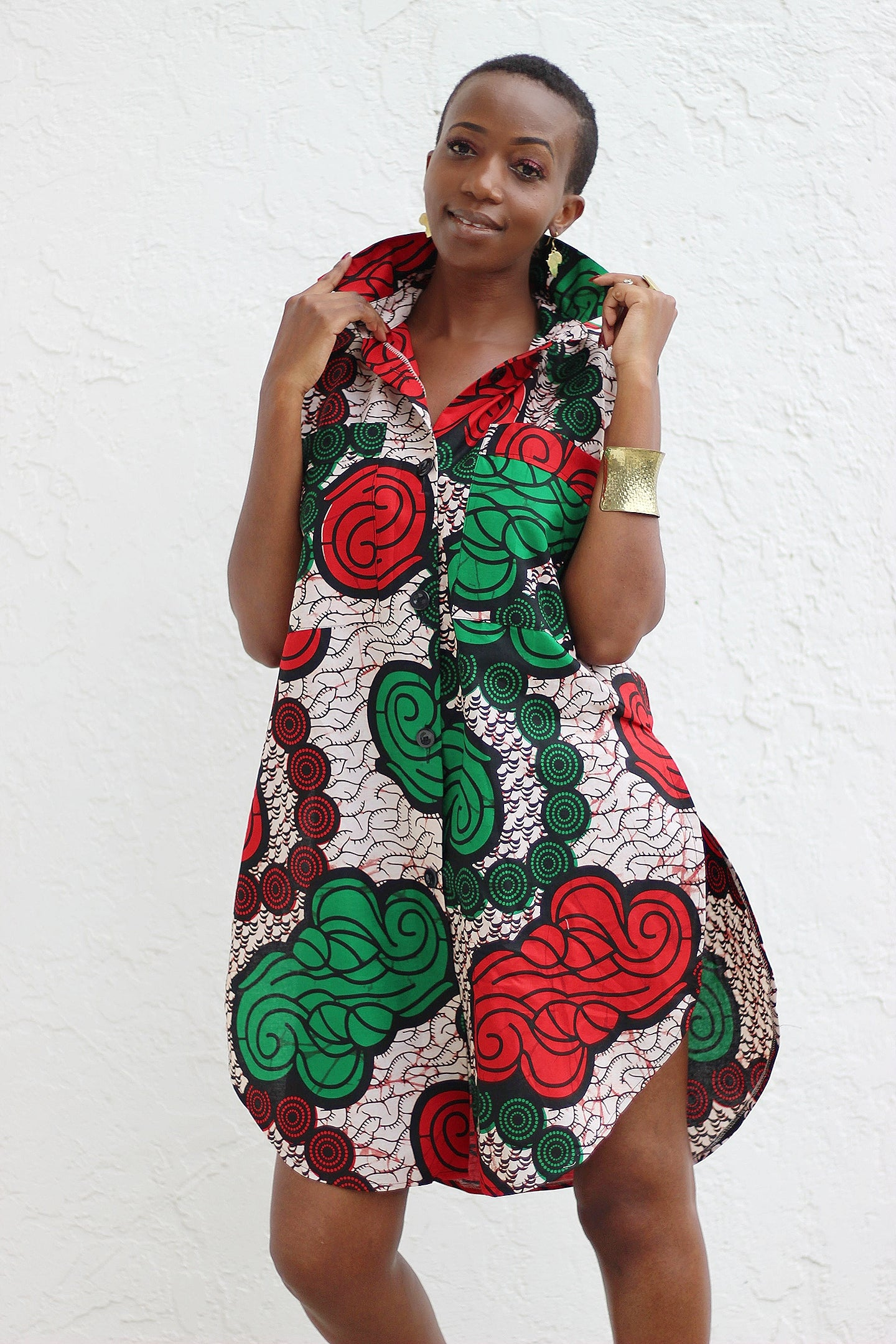 African Print /Ankara /Kitenge Zao Dress Top - Red/Green/BaigePrint - Africas Closet