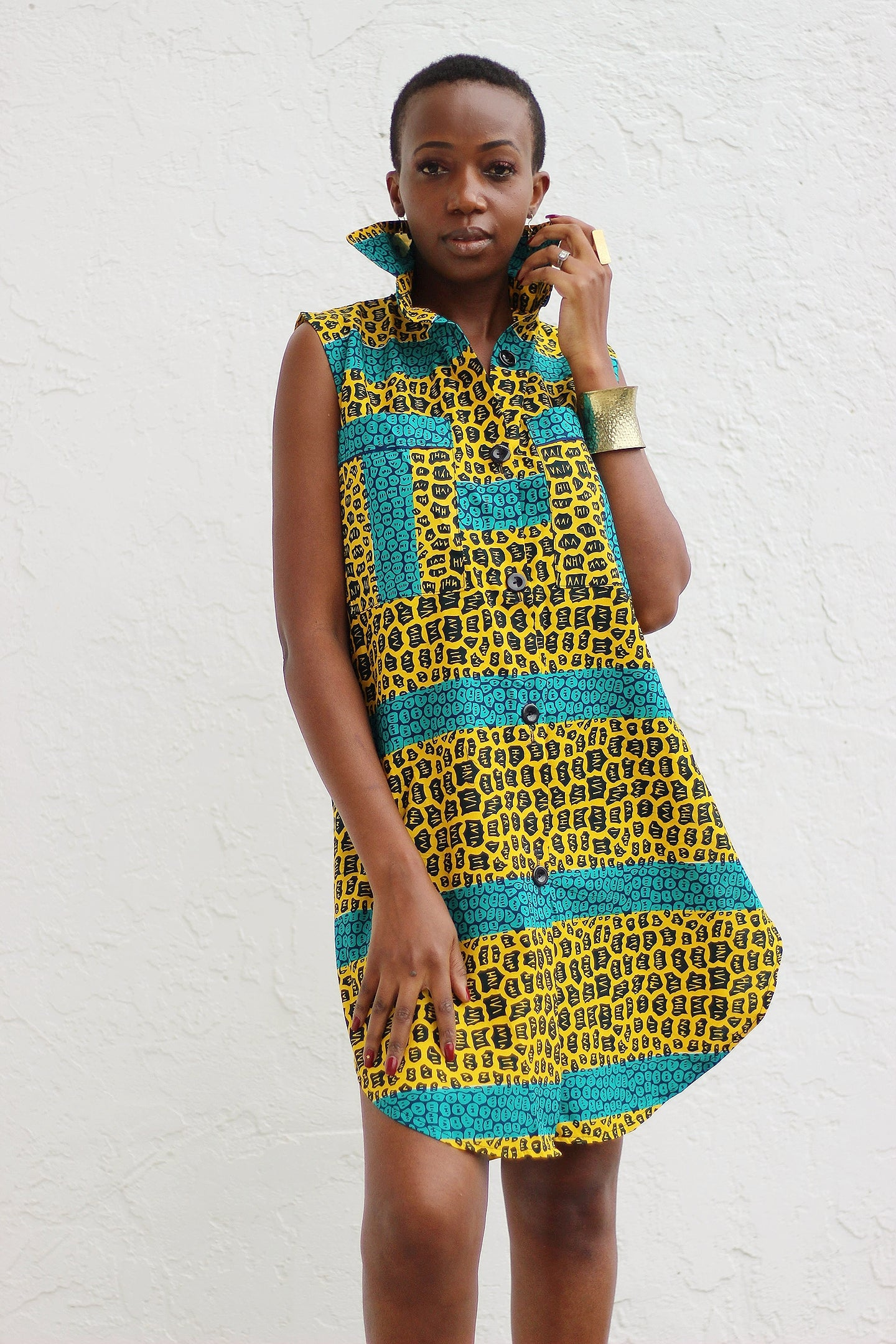 African Print /Ankara /Kitenge Zao Dress Top - Green/Black/Mustard Yellow Animal Print Print - Africas Closet