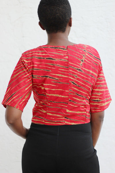 African Print /Ankara/Kitenge Short Sleeved Crop Top - Africas Closet