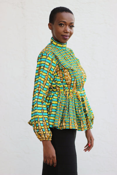 African Print Long Sleeved PeplumTop - Turqoise/Gold/Black Geometric Print - Africas Closet