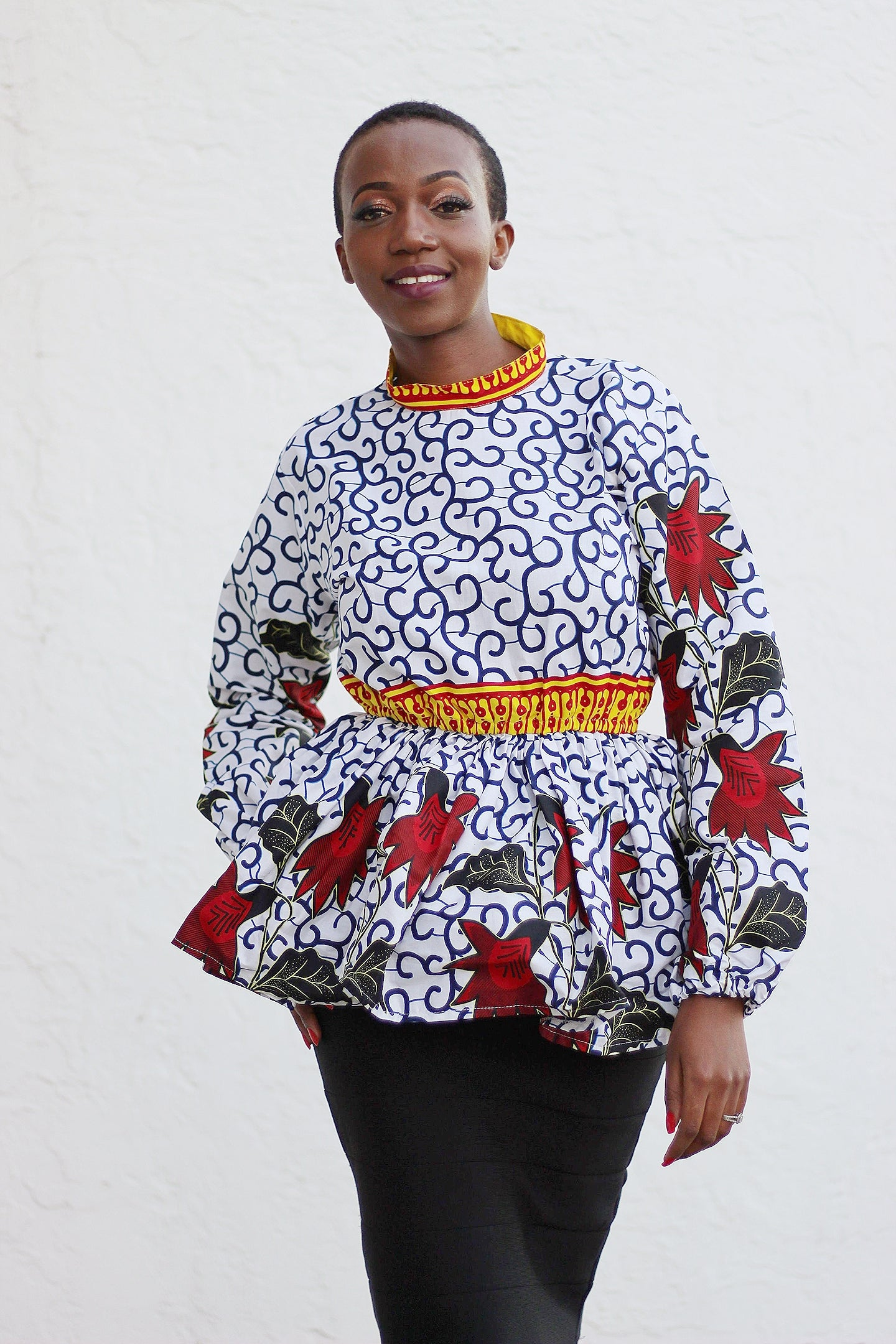 African Print Long Sleeved PeplumTop - White/Red/Black Floral Print - Africas Closet