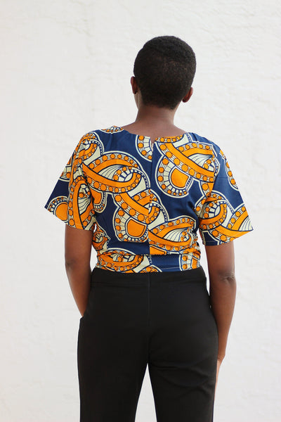 African Print /Ankara/Kitenge Short Sleeve Crop Top  - Musturd Yellow/Navy Blue Floral Print - Africas Closet