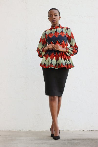 African Print Long Sleeved PeplumTop - Beige/Red/Navy Blue Floral Print - Africas Closet