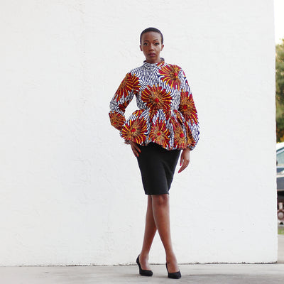 African Print Long Sleeved PeplumTop - White/Red/Black Circle Floral Print - Africas Closet