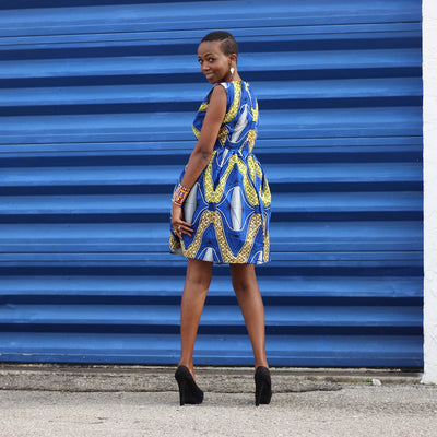 African Print /Ankara /Kitenge Print Sleeveless Teo Dress - Royal Blue /Yellow - Africas Closet